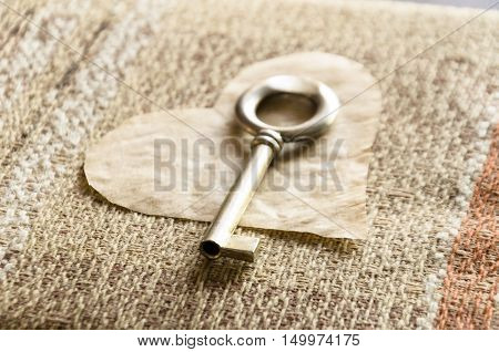 On Valentine's Day you get a key to my heart on linen background