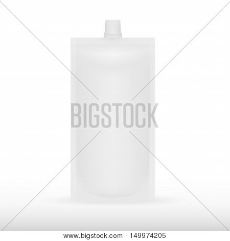 Big Blank Plastic Spouted Pouch For Sauce, Mayonnaise Or Ketchup. EPS10 Vector