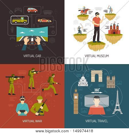 Virtual reality 2x2 design concept set of car war museum and travel VR games icons collection flat vector illustration