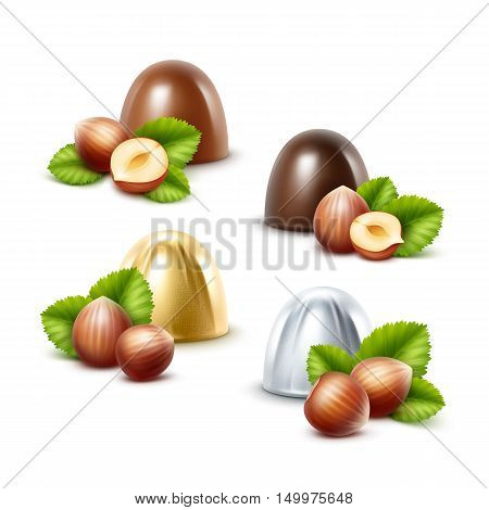Vector Set of Realistic Dark Black Bitter Milk Chocolate Candies with Hazelnuts in  Golden Silver Glossy Foil Wrapper Close up Isolated on White Background