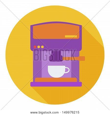 Coffeemaker icon in flat style isolated on white background. Kitchen symbol vector illustration.