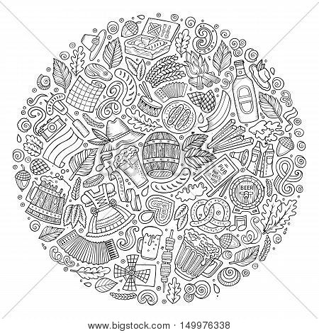 Line art vector hand drawn set of Beer fest cartoon doodle objects, symbols and items. Round form composition