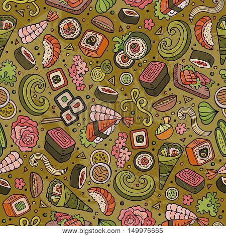 Cartoon cute hand drawn Japan food seamless pattern. Colorful with lots of objects background. Endless funny vector illustration. Bright colors backdrop with japanese cuisine symbols and items