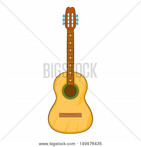 Acoustic guitar icon in cartoon style isolated on white background vector illustration