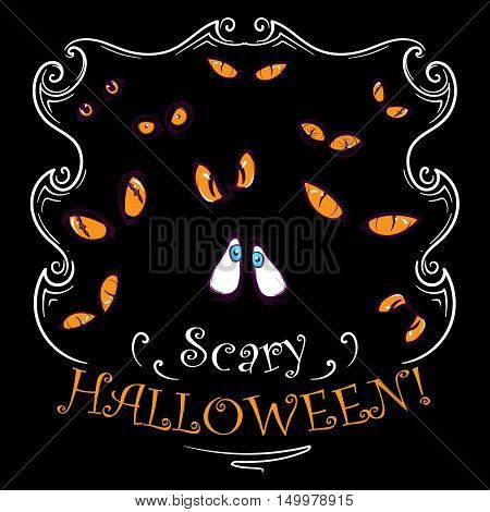 Scary yellow eyes watching from the dark. Spooky Halloween greeting card, print or party invitation design. EPS10 vector illustraton.