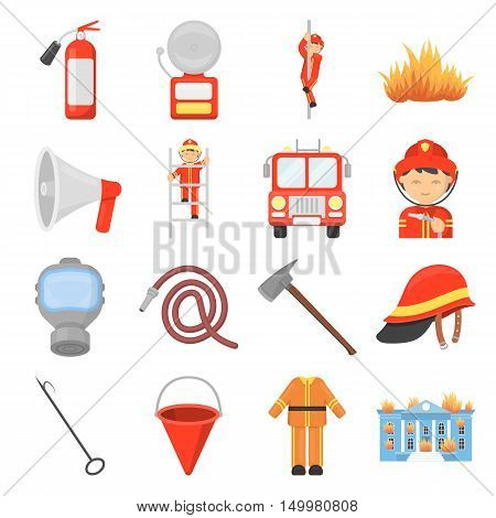 Fire department set icons in cartoon style. Big collection of fire department vector symbol.