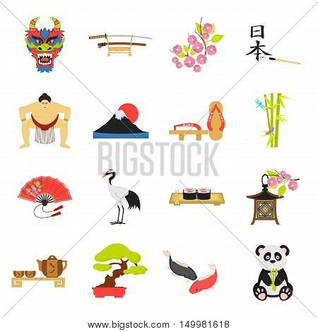 Japan set icons in cartoon style. Big collection of Japan vector symbol.