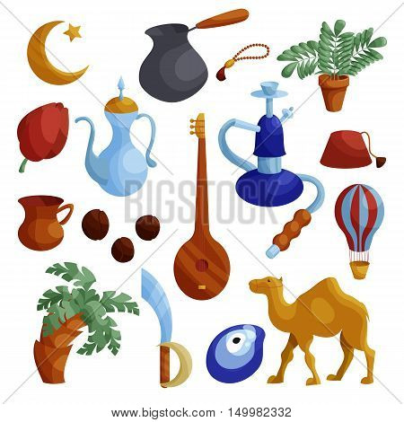 Egypt icons set in cartoon style. Egypt travel attractions set collection vector illustration