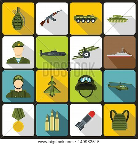 War icons set in flat style. Military equipment set collection vector illustration