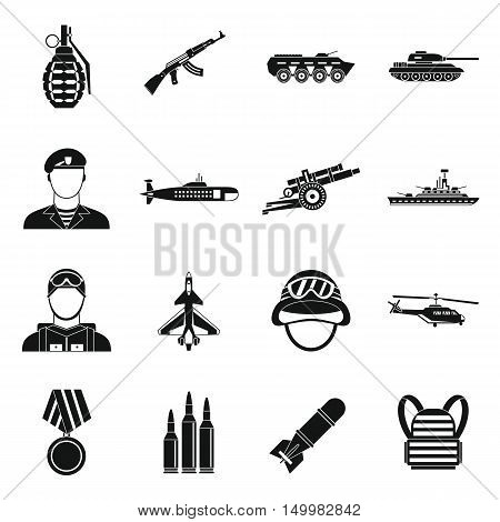 War icons set in simple style. Military equipment set collection vector illustration
