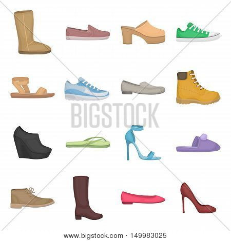 Shoes set icons in cartoon style. Big collection of shoes vector symbol.