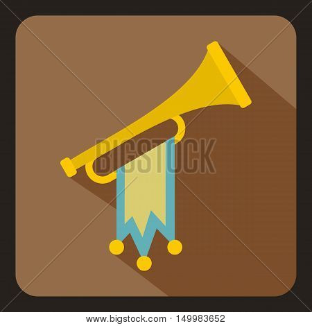 Trumpet with flag icon in flat style on a white background vector illustration