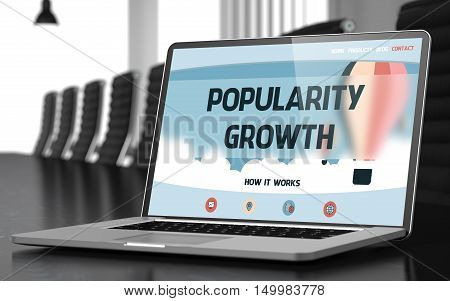 Popularity Growth on Landing Page of Mobile Computer Display. Closeup View. Modern Conference Hall Background. Toned. Blurred Image. 3D Illustration.