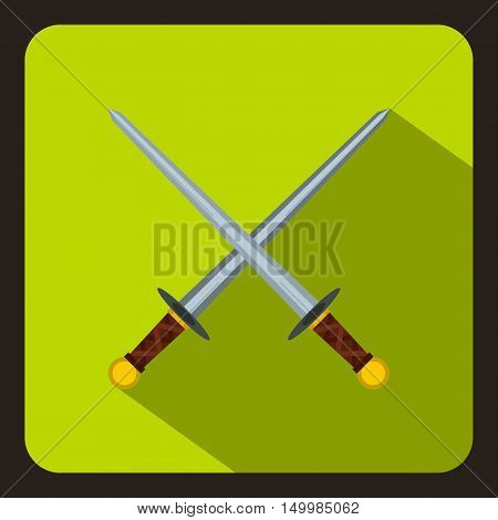 Crossed swords icon in flat style on a white background vector illustration