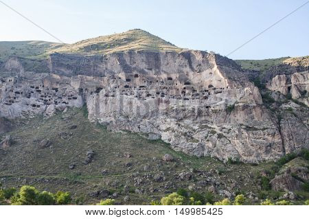 Color image of some cave dwellings in Vardzia Georgia.