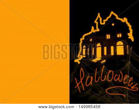 Halloween - greeting card, a holiday with cobwebs