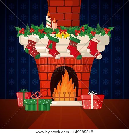 Christmas Card with fireplace and Christmas socks in flat style. Vector illustration.