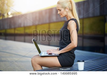 Busy Woman Working Outside