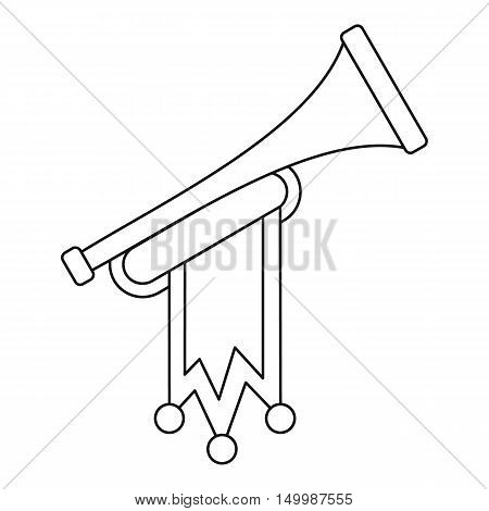 Trumpet with flag icon in outline style on a white background vector illustration