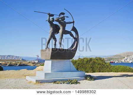 SALAMIS GREECE, OCTOBER 29 2015: memorial to the fighters of the Battle of Salamis. The memorial is at the area of Kynosoura at Salamis island, Greece. Editorial use.