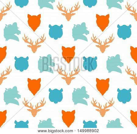 Wildlife seamless pattern. Zoo ornament for print fabric cloth child items and wrap. Nature fauna wallpaper. Silhouettes head animals background. Vector