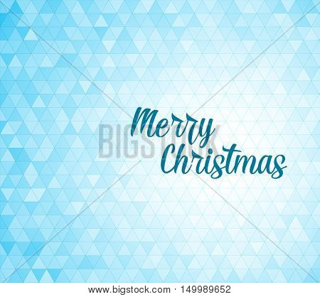 Modern minimalist vector Christmas background made from blue triangles