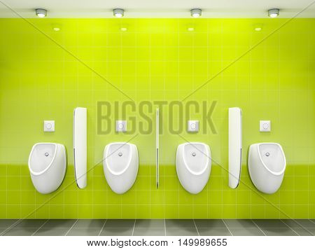 3d rendering of a green public restroom with four urinals