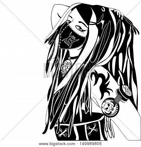 cyberpunk girl in a mask ink sketch vector