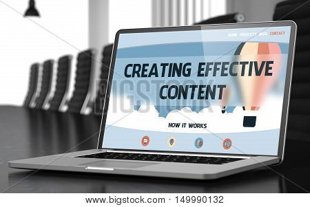 Creating Effective Content on Landing Page of Laptop Display in Modern Meeting Hall Closeup View. Toned. Blurred Image. 3D Rendering.