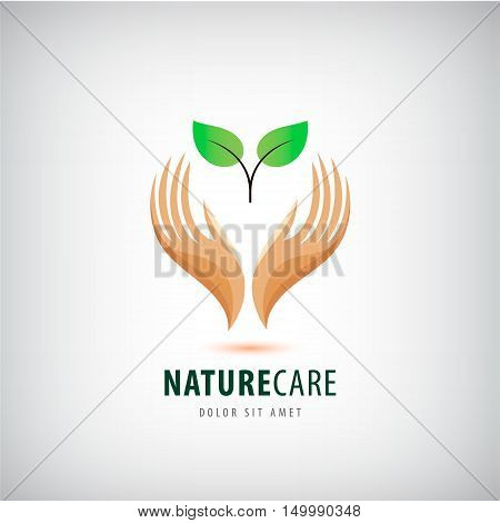 Vector logo - hands holding leaves, eco icon, nature care. protecting natural resources, organic products, wellness industry, alternative health