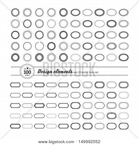 Set of elements for design - decorative frame and label. A vector.