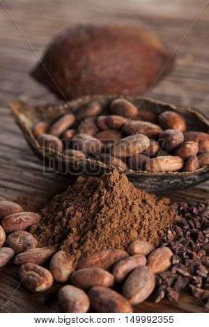 Aromatic cocoa, powder and food dessert background