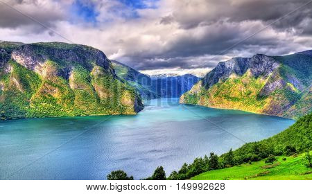 View of Aurlandsfjord, a branch of Sognefjord, from Stegastein viewpoint, Norway