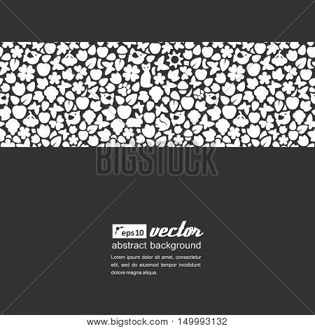 Background with seamless texture. Silhouettes of birds flowers butterflies berries. Vector.