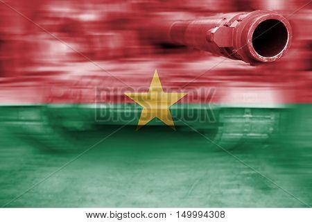 Military Strength Theme, Motion Blur Tank With Burkina Faso Flag