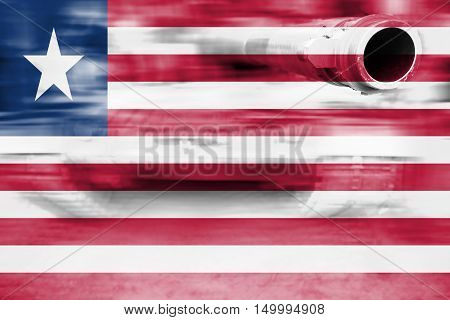 Military Strength Theme, Motion Blur Tank With Liberia Flag
