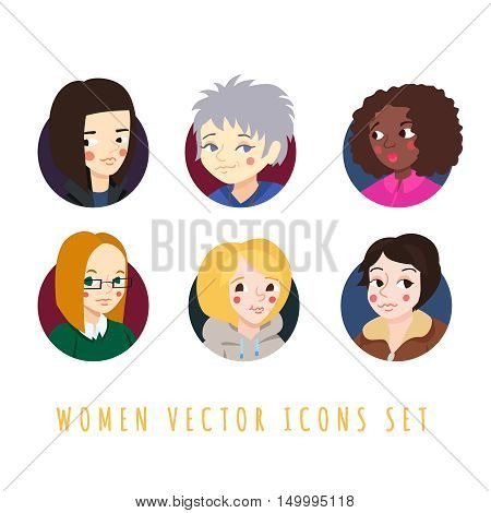 Women circle icons cartoon style vector set (part two).