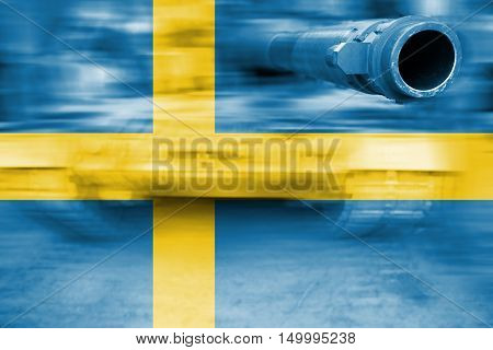 Military Strength Theme, Motion Blur Tank With Sweden Flag