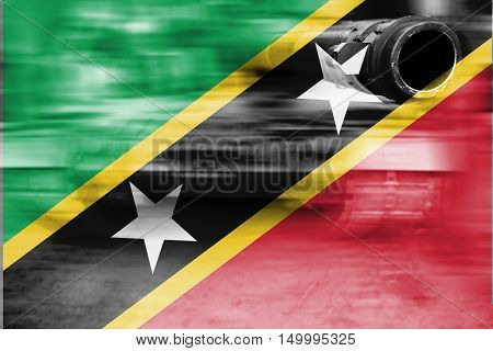 Military Strength Theme, Motion Blur Tank With Saint Kitts & Nevis  Flag