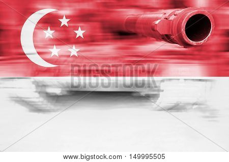Military Strength Theme, Motion Blur Tank With Singapore Flag