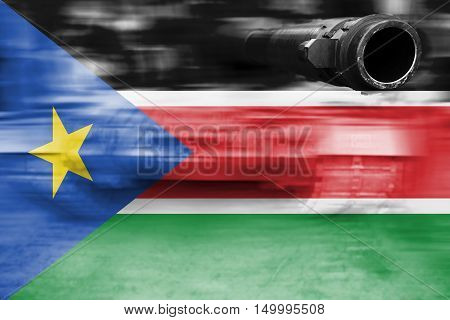 Military Strength Theme, Motion Blur Tank With South Sudan Flag