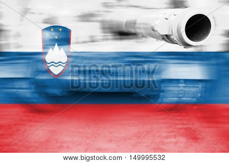 Military Strength Theme, Motion Blur Tank With Slovenia Flag