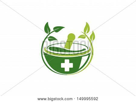 pharmacy medical logo, natural mortar and pestle logotype, medicine herbal illustration symbol icon vector design.