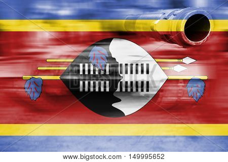 Military Strength Theme, Motion Blur Tank With Swaziland Flag