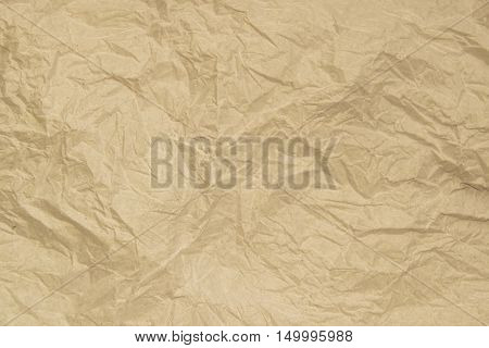Old soft brown crumpled paper abstract texture background