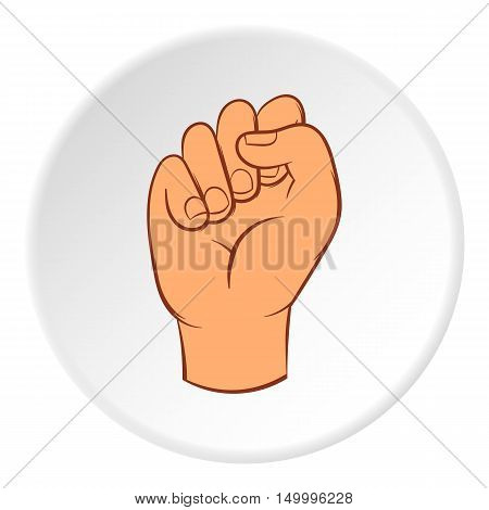Clenched fist icon in cartoon style on white circle background. Gestural symbol vector illustration