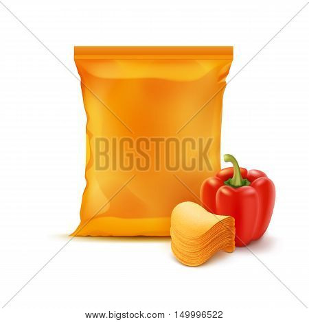 Vector Stack of Potato Crispy Chips with Paprika and Vertical Sealed Empty Orange Plastic Foil Bag for Package Design Close up Isolated on White Background