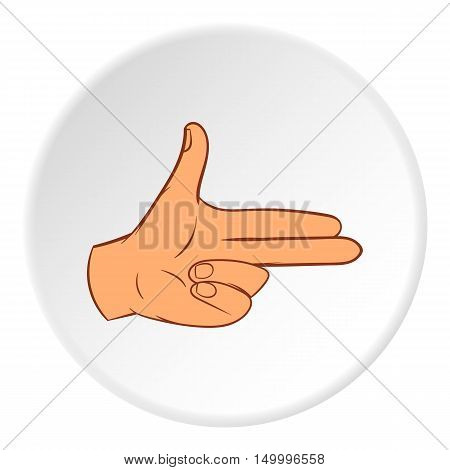 Gesture index and middle finger together icon in cartoon style on white circle background. Gestural symbol vector illustration