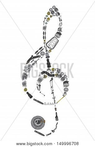 Treble clef assembled from painted auto spare parts