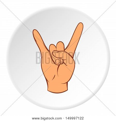 Gesture rock musician icon in cartoon style on white circle background. Gestural symbol vector illustration